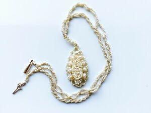 Antique Georgian Natural Seed Pearl Torsade, Pendant Necklace C.1800, 10k Clasp