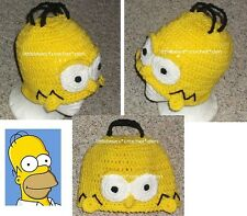 CUSTOM Boutique CROCHETED SIMPSONS HOMER WIG HAT Costume Halloween Beanie