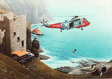 Westland WS-61 RNS Sea King Helicopter Sikorsky S61 coast guard card landrover