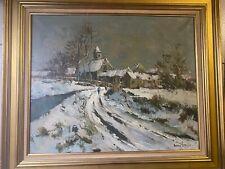 tableau Maurice Lemaitre 1926-2018 huile sur toile paysage de Neige village