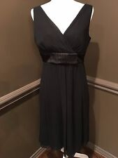 Ann Taylor Sleeveless 100% Silk Little Black Dress Size 8