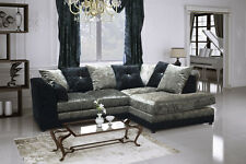New Argent Crushed Velvet Corner Sofa Footstool Black Silver Dallas Vegas Bella