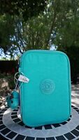 New Kipling 100 Pens Pencil Case Cosmetic Pouch Breezy Turquoise