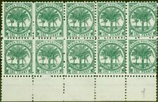 More details for samoa 1897 1d bluish green sg58a p.11 fine unused block of 10