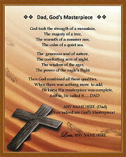 """Personalized Dad Poem """"Dad, God's Masterpiece"""" Gift For Father's Day Birthday"""