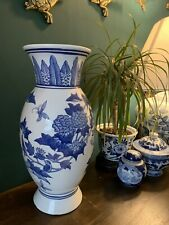 More details for chinese large blue and white  prunus ginger jar temple vase 37cm tall