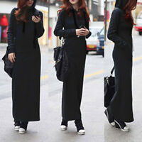 Women's V Neck Casual Dress Long Sleeve Hoodie Hooded Jumper Sweater Maxi Dress