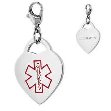 COUMADIN Stainless Steel Medical Alert Heart Shape Charm w/ Lobster Clasp