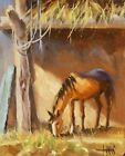 TOM HAAS painting 'Lazy Day' oil canvas Western horse ranch barn stable hay