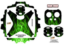 Green Fire DJI Phantom 4 P4 Skin Wrap Decal Sticker Vinyl Ultradecal Skinz