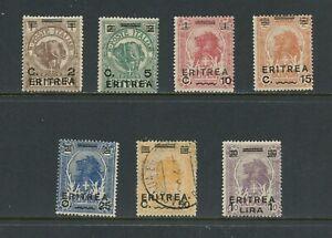 B383 Érythrée 1922 Lions Éléphants Surimprimées 7v. MH / D'Occasion
