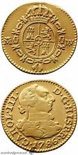 SPAIN COLONIAL GOLD COIN 1/2 ESCUDO CHARLES III MADRID MINT 1786 AD
