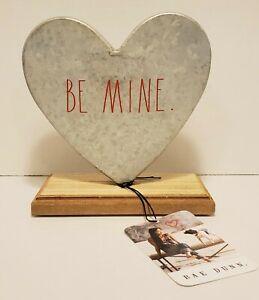 Rae Dunn BE MINE Heart Sign Desk Decor Farmhouse Galvanized Metal Wood Holidays