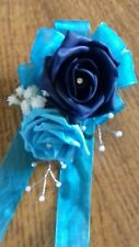 Wedding flowers maids brides wrist corsage navy turquoise pearls diamante