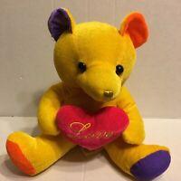 "Hayes Yellow Love Heart Bear  10"" Plush Stuffed Animal"