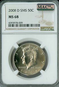 2008-D KENNEDY HALF DOLLAR NGC MAC MS-68 SMS PQ 2ND FINEST RARE POP-18 SPOTLESS.