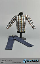 "1:6 ZY TOYS Youth Brown White Checker Box Shirt&Jeans Set For 12"" Action Figure"
