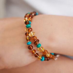 Baltic Amber Bracelet Natural Turquoise Beaded Bracelet Polished Beads Separator