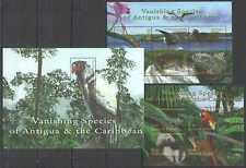 I1109 ANTIGUA & BARBUDA FAUNA ANIMALS BIRDS VANISHING SPECIES !!! 1BL+2KB MNH