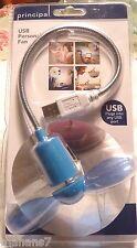 Light Blue USB Personal Personal Flexible Mini Fan by Principal, USB 1.1 or