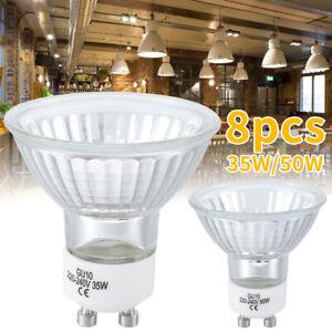 8pcs GU10 Halogen Light Bulbs Spotlight Bulbs Warm Light Bright 2700K 35W/50W