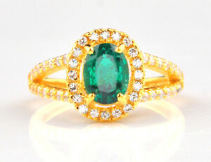14KT Yellow Gold With 1.70Ct Natural Green Emerald & IGI Certified Diamond Ring