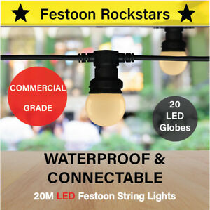 20m LED Festoon String Lights | Commercial Grade | Permanent Outdoor Connectable