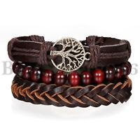 3pcs Tree of Life Leather Braided Tribal Wood Bracelet Men Women Wristband Set