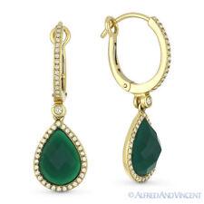3.60 ct Green Agate & Round Cut Diamond Dangling / Drop 14k Yellow Gold Earrings