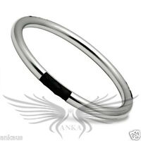"""Ladies 8"""" Faux Leather Accented Stainless Steel Bangle Bracelet No Stone TK404"""