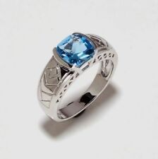 14 K Solid White Gold Natural Gem Stone Blue Topaz Men's Ring Us 7 8 9 10 11