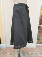 iZ - Womens Dark Blue Black Cotton Midi Skirt - size L