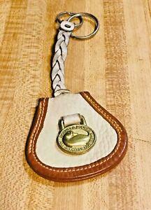 Dooney & Bourke DB Logo FOB Key Ring Tan/Brown Braided Leather