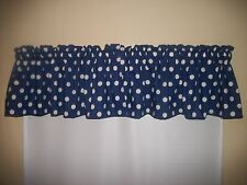 Royal Blue Polka Dot bedroom bathroom cotton fabric topper curtain Valance