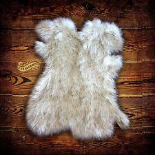 Arctic Fox Throw Rug - Plush Faux Fur - White w/ Brown Accents - New Pelt Design