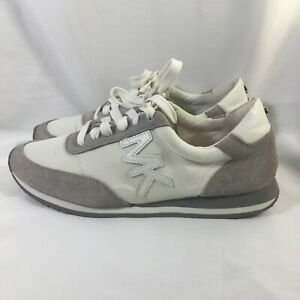 Michael Kors Women's Sneakers 7.5 Leather Textile Suede Uppers HJ16L White/Beige