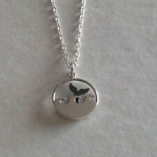 925 Sterling Silver Whale Tail Ocean Round Disc Charm Pendant Necklace