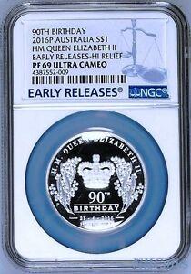 2016 QUEEN ELIZABETH 90th Birthday 1oz Silver $1 High Relief coin NGC PF69 9999