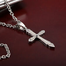 AgentX Mens Silver Cross Stainless Steel Pendant with Chain Necklace Gift Bag