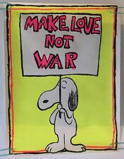 Snoopy Poster Make Love Not War Vintage Blacklight Pin-up 1967 Leslie Tobin 60's