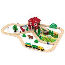 Tren de Madera Set 77 Piezas Granja Animales Rastrear Construcción Juguete Para