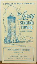 1956 The Luray Singing Tower vintage Virginia Carillion Recitals brochure b