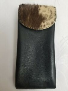 OVERLAND Black Leather Glasses Case With Natural Cowhide Accent