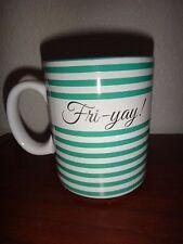 Love your mug Fri-Yay! White Green Gold Striped Pottery Coffee Mug Tea Cup 18 oz