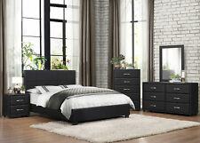 NEW Modern Design Black Finish 5 pieces Bedroom Set w/ Queen Size Vinyl Bed IA42