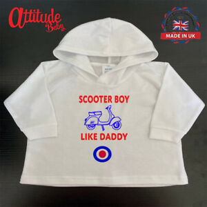 White Baby Hoody-Scooter Boy Like Daddy-Mod Baby Clothes-Mod Baby Hoody-Mod Baby