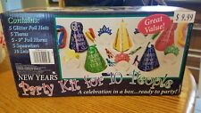Nib New Years Eve Party Kit Supplies 10 People Hats Tiaras Horns Squawkers Leis