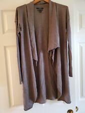 Tahari Merino Wool Open Front long  Duster Sweater Brown Rolled Hem Med