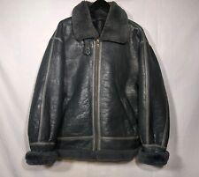 Men's Genuine Shearling Jacket Sz M / L Gray B-3 Bomber Coat Zip