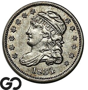 1834 Capped Bust Half Dime, AU Collector Type Coin